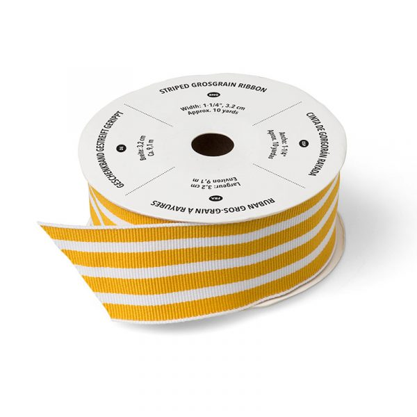 """Stampin Up UK Stamp with Sarah Berry Crushed Curry 1-1/4"""" Striped Grosgrain Ribbon 134555"""