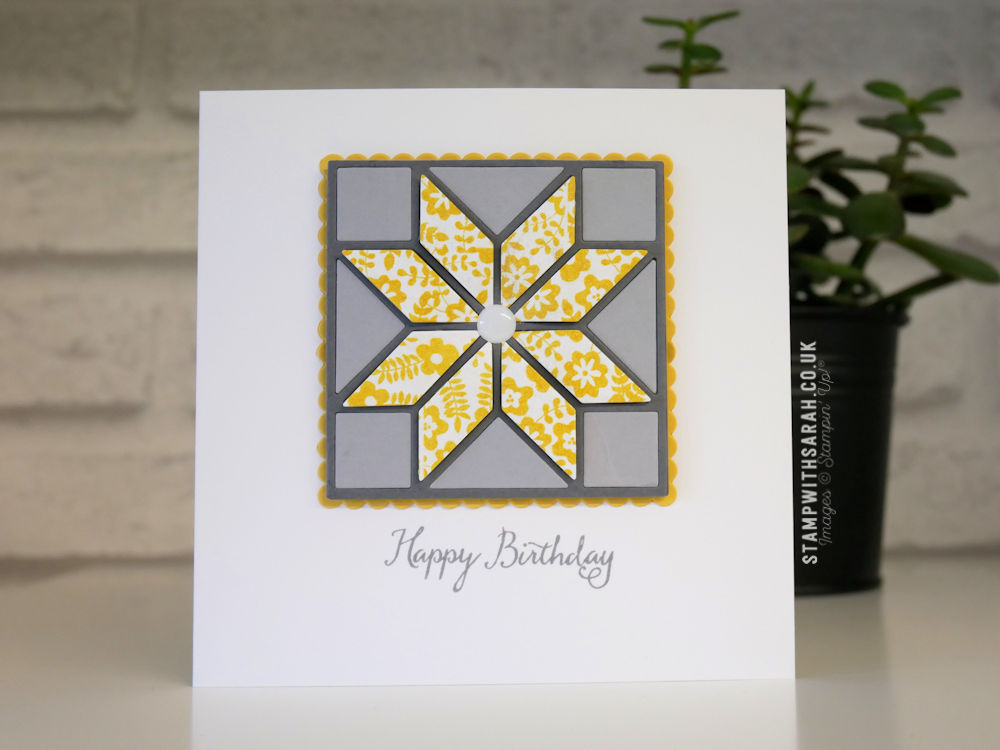 A Birthday Card Created With The Quilted Christmas Framelits By Stampin Up Shop For Stampin Up Uk Sarah Berry