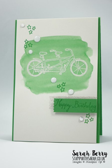 Birthday bike card featuring Pedal Pusher stamp set for Sale-A-Bration 2016 International Blog Hop #stampinup #stampwithsarah #internationalSABblogHopFeb