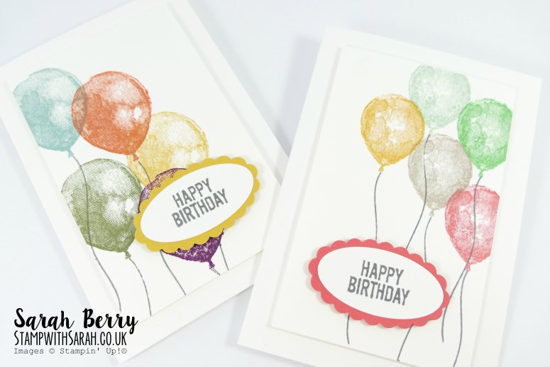 Cards for Card & Cuppa class using Balloon Builders stamp set and in colours by Stampin' Up! #stampwithsarah #stampinup