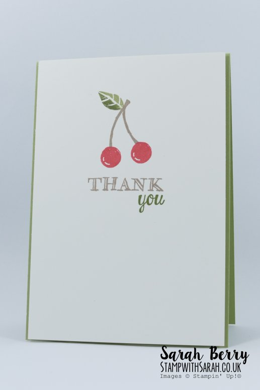 Cherry thank you card featuring Apple of My Eye stamp set for International Blog Highlight #kyliebertucci #stampwithsarah #stampinup #sarahberry