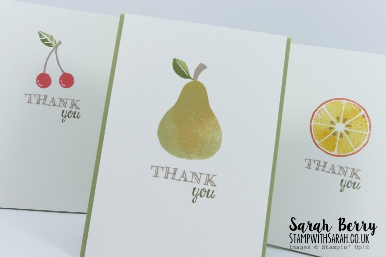 Close up of Thank you cards featuring Apple of My Eye stamp set for International Blog Highlight #kyliebertucci #stampwithsarah #stampinup #sarahberry