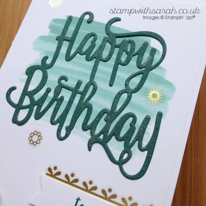 Close up of Wink of Stella on new HAppy Birthday Thinlit from Stampin' Up! Demonstrator Sarah Berry