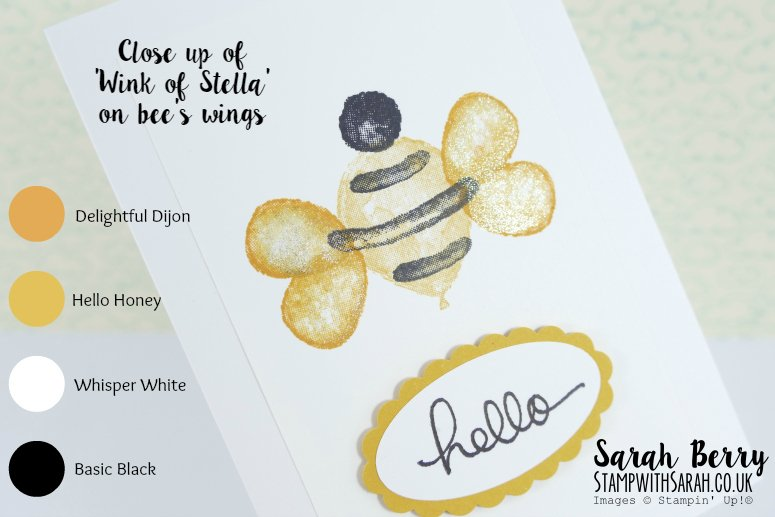 Close up of wink of stella shimmer on bumble bee, made with the Balloon Builder stamp set by Stampin' Up! from Sarah Berry. #stampwithsarah #stampinup