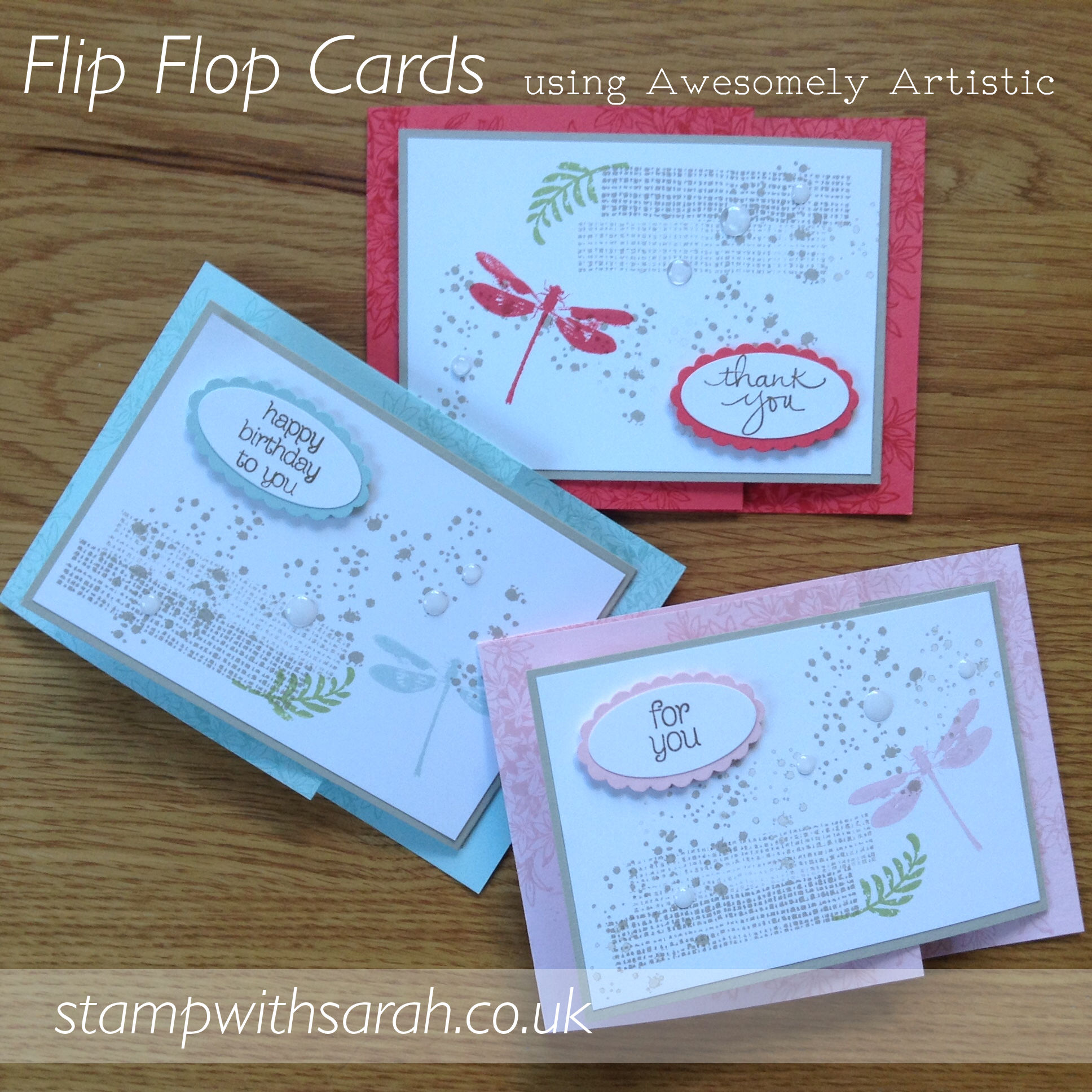 Flip Flop Cards using Awesomely Artistic stamp set by Stampin' Up! UK