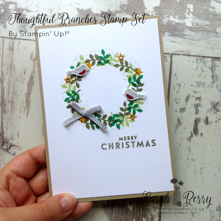 Gorgeous Christmas wreath card made with Thoughtful Branches, limited time bundle available during August 2016 only!