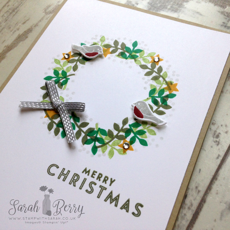Gorgeous close up of Christmas wreath card made with Thoughtful Branches, limited time bundle available during August 2016 only!
