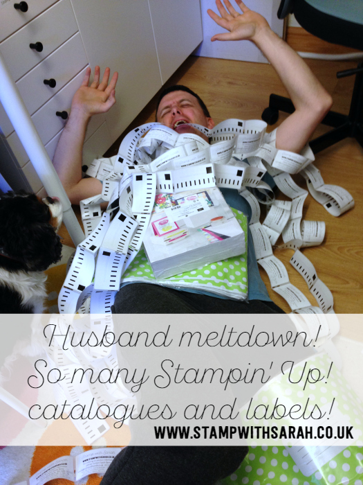 Husband meltdown! So many Stampin' Up! Catalogues and labels!