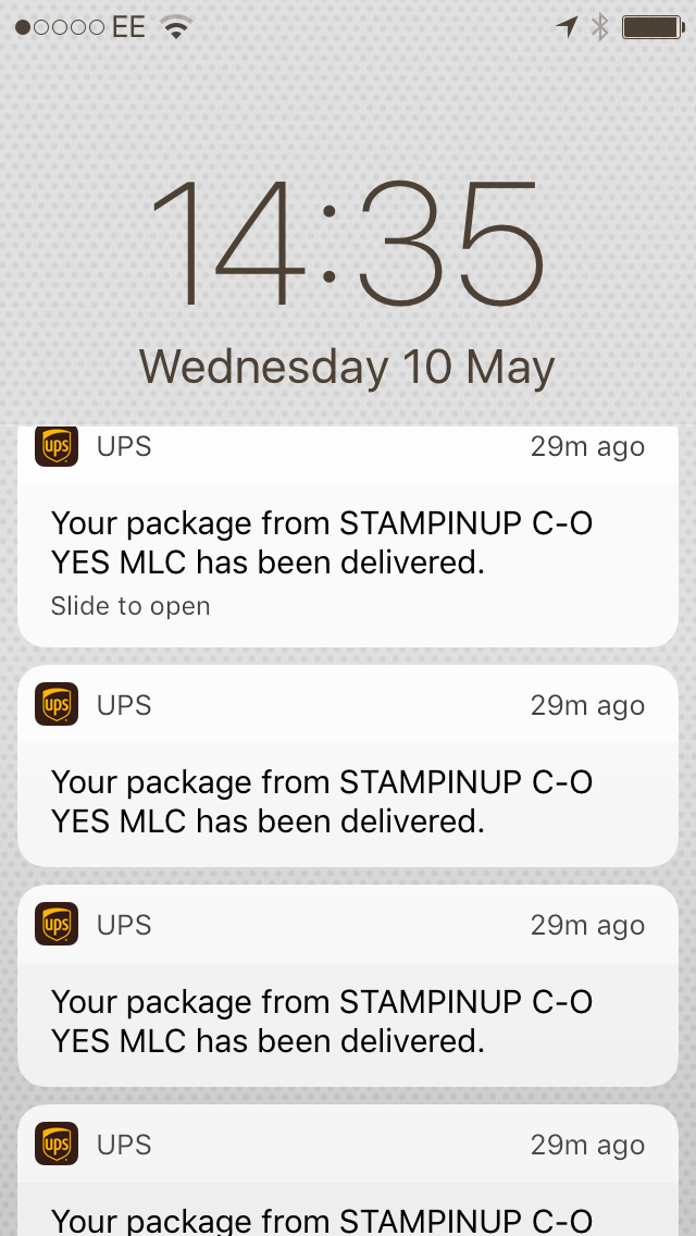 Confirmation of my Stampin' Up! deliveries came through to my phone! Bing bing!