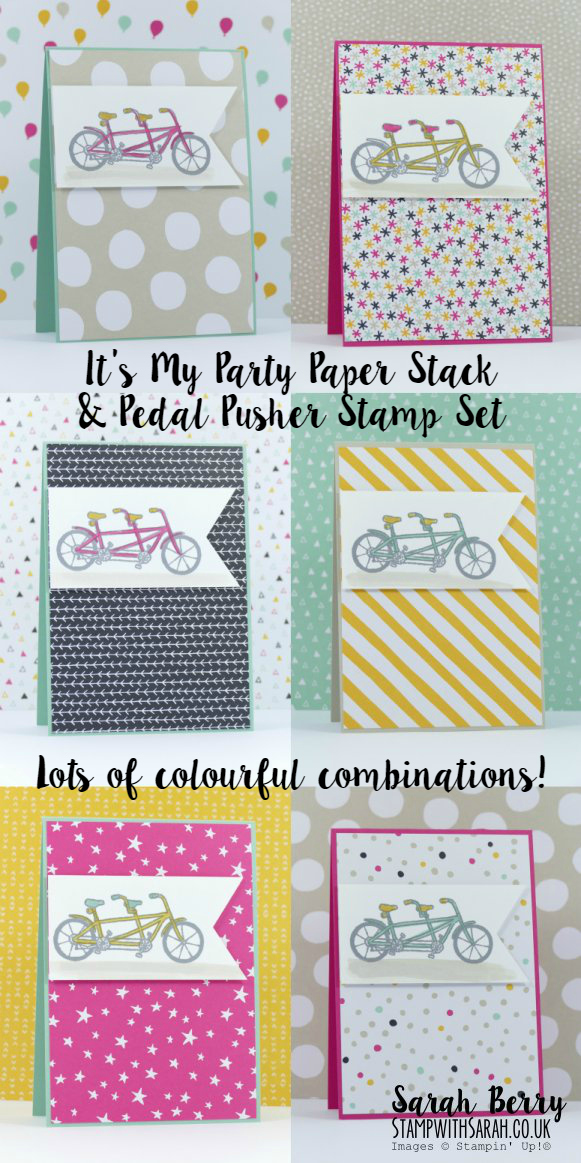 It's My Party DSP and Pedal Pusher Sale-A-Bration Stamp Set by Sarah Berry #stampwithsarah #stampin up