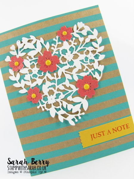 Love Heart just a note card Connie Collins themed card for #GDP020 by Stampin Up Demonstrator Sarah Berry