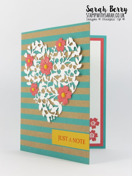 Love Heart just a note card insides view Connie Collins themed card for #GDP020 by Stampin Up Demonstrator Sarah Berry
