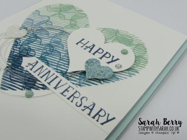 Love Themed card close up for Mediterranean Blog Hop #gvachieversbloghop by Stampin Up Demonstrator Sarah Berry