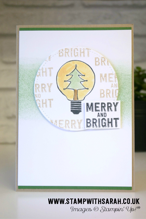 Merry and Bright Christmas Tree light bulb from Watts of Occasions by Sarah Berry Stampin' Up! UK Demonstrator