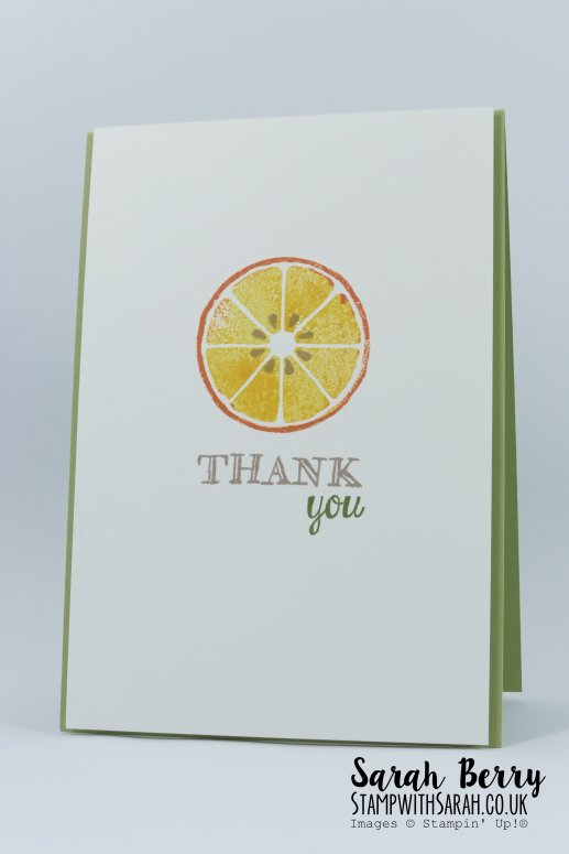 Orange thank you card featuring Apple of My Eye stamp set for International Blog Highlight #kyliebertucci #stampwithsarah #stampinup #sarahberry