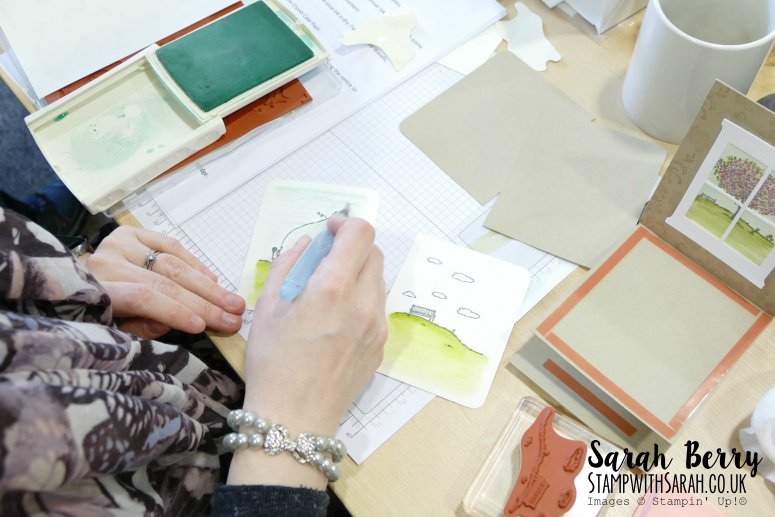 Rebecca colouring in her stamps from the Happy Home stamp set by Stampin' Up! #stampwithsarah #stampinup