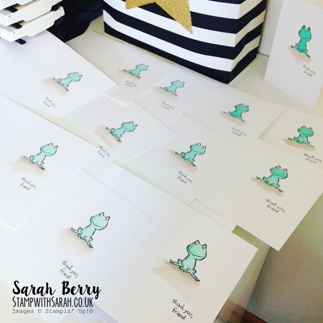 Several Watercoloured Frogs from Love You Lots stamp set #stampinup #gvachieversbloghop