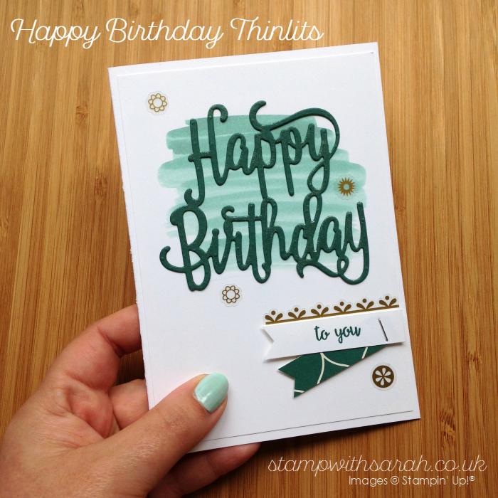 Sneak Peek at the new Happy Birthday Thinlits from Stampin' Up! UK Sarah Berry Demonstrator