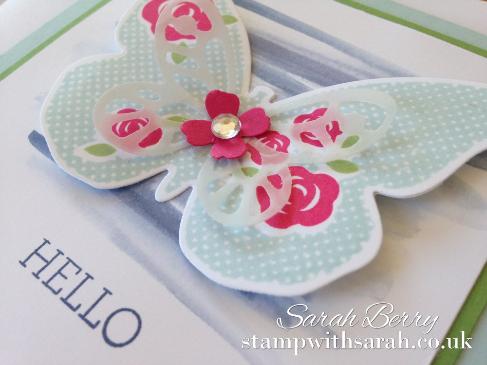 Stamp with Sarah Butterfly Hello Floral Wings Close Up