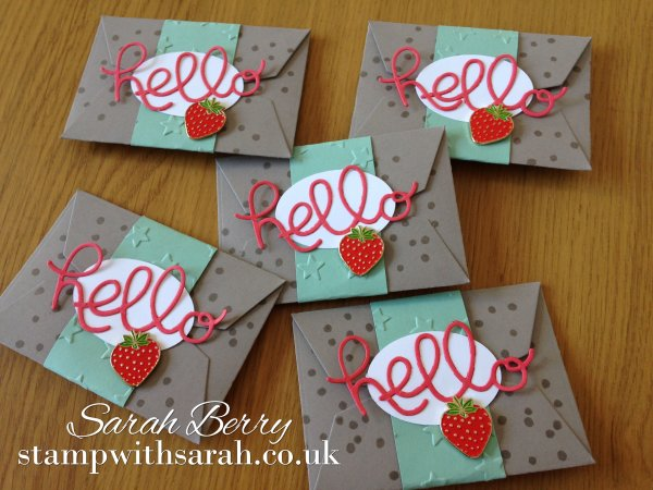 Stamp with Sarah New Strawberry Stampers Hello Handmade Card