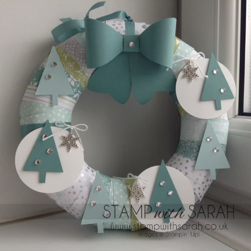 Stampin' Up! All is Calm Tree Gift Bow Wreath