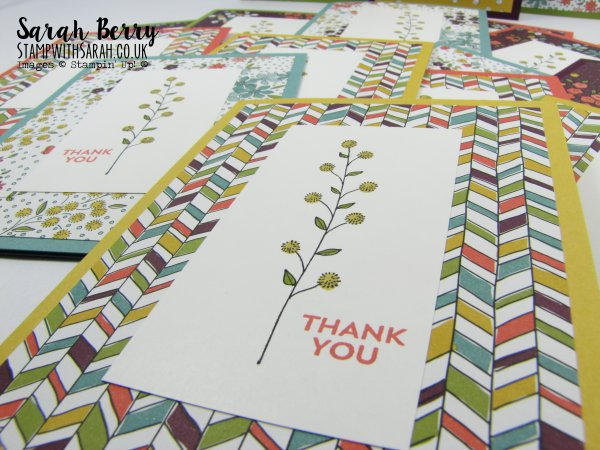 Stampin Up Demonstrator Sarah Berry Sale-A-Bration Flowering Fields stamp set and matching papers close up