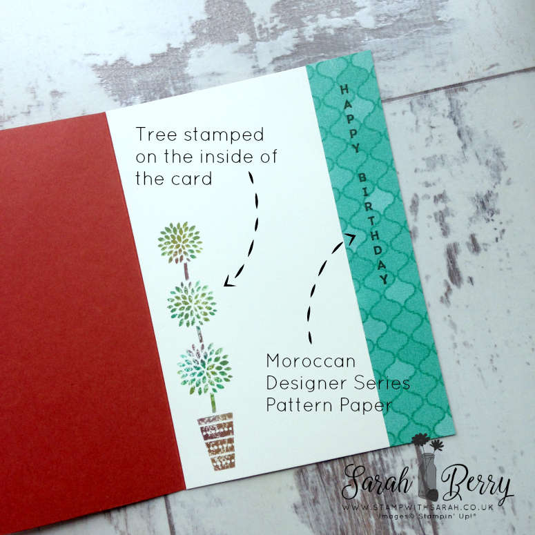 Stampin' Up! Demonstrator Sarah Berry using Vertical Greetings stamp set inside of card