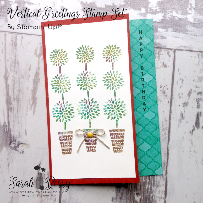 Stampin' Up! Demonstrator Sarah Berry using Vertical Greetings stamp set