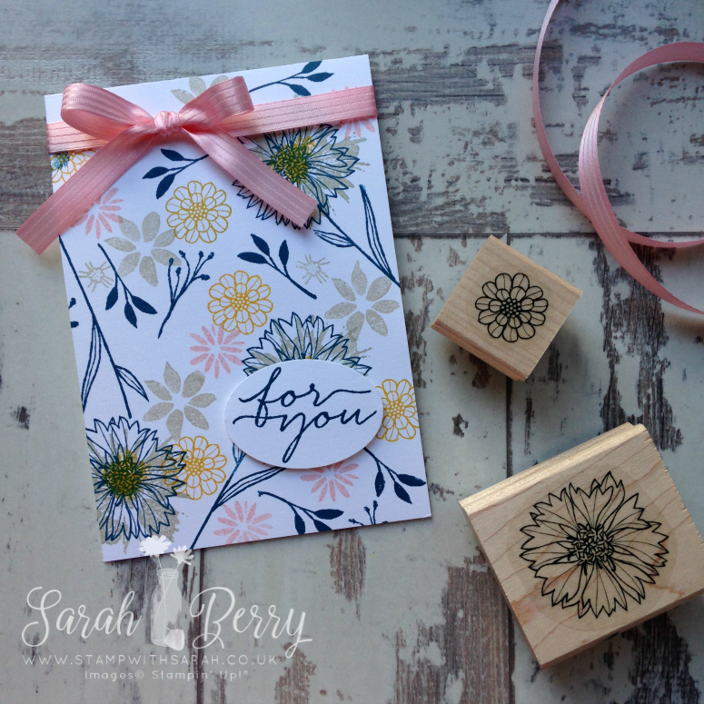 Stampin' Up! UK Demonstrator Sarah Berry makes On Trend card using Touches of Texture and Bloom & Wishes stamp sets #stampwithsarah