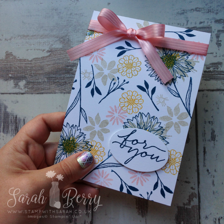 Stampin' Up! UK Demonstrator Sarah Berry making On Trend card using Touches of Texture and Bloom & Wishes stamp sets #stampwithsarah