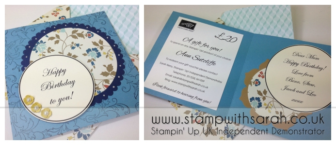 Stampin Up UK Stamp with Sarah Berry Birthday Gift Vouchers