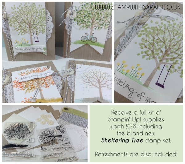 Stampin Up UK Stamp with Sarah Berry Sheltering Tree Barton Grange Garden Centre Card Making Class